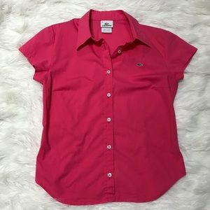 Lacoste Women's Button Down Blouse in Bright Pink